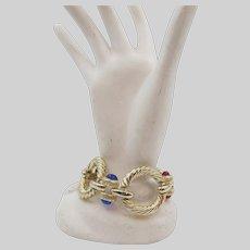 Vintage Circle Jewels of India Cabochon Goldtone Bracelet