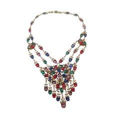 Exceptional Early Czech Ornate Brass Rhinestone Enamel Festoon Necklace