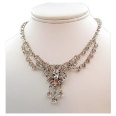 Delicate Open Back Crystal Festoon Necklace