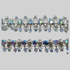 Coro Silver Tone Blue AB Rhinestone Dangle Necklace, Bracelet and Earring Parure