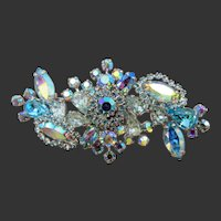 Weiss Light Blue Halo AB Rhinestone Brooch