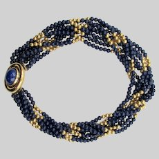 Ciner Blue and Gold Torsade Necklace Decorative Clasp