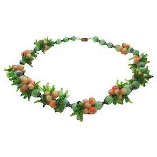 Italian Murano Hand Blown Glass Green Peach Necklace