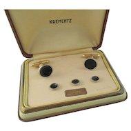 Art Deco Krementz Men's Platinum Overlay Cufflink and Tuxedo Set