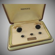 Art Deco Krementz Men's Platinum Overlay Cufflink and Tuxedo Set
