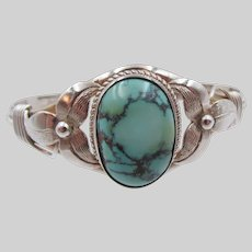 Sterling Silver Large Turquoise Cabochon Cuff Bracelet