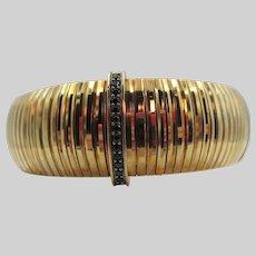 Italy Bellezza Gold Tone Ribbed Rhinestone Clasp Bracelet