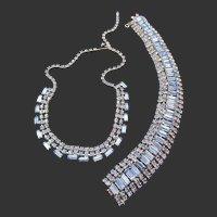 Gorgeous Ice Blue Baguette Rhinestone Necklace and Bracelet Set
