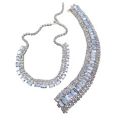 Gorgeous Ice Blue Baguette Rhinestone Necklace and Bracelet Set