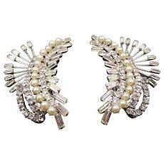 Outstanding Coro Faux Pearl and Rhinestone Spray Clip Earrings