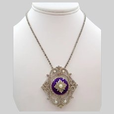 Vendome Silver Purple Enamel Rhinestone Pendant Necklace