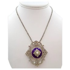 Vendome Silver Purple Enamel Rhinestone Pendant Necklace
