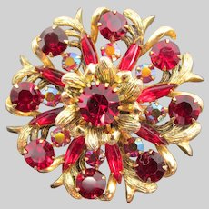 Selini Ruby Red Rhinestone Gold-tone Brooch