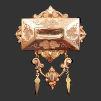 Victorian Gold Filled Etched Drop Brooch