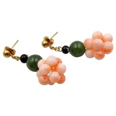 Vintage Coral, Jade and Onyx Bead Cluster Pierced Earrings