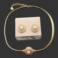 Christian Dior Crystal Rhinestone and Faux Pearl Necklace and Pierced Earring Set