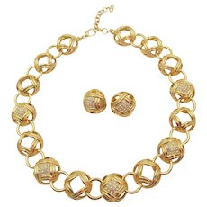 Gorgeous Christian Dior Gold Plated Rhinestone Necklace and Earring Set