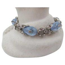 Crown Trifari Alfred Philippe Blue Shoe Button Rhinestone Bracelet