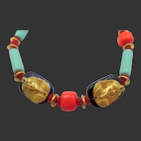 Miriam Haskell by Larry Vrba Egyptian Revival Collection Faux Coral, Lapis and Turquoise Necklace