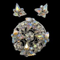 Signed Vogue Aurora Borealis Rhinestone Brooch and Clip Earring Set
