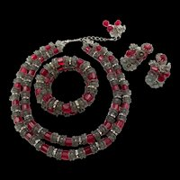 Hobe Red Gray and Crystal Necklace, Bracelet and Earring Parure Set