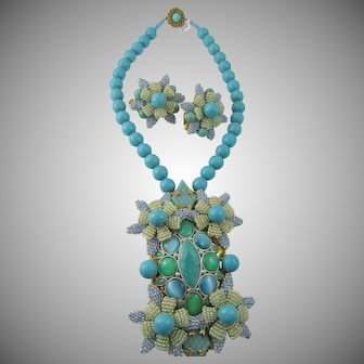 Stanley Hagler Turquoise Howlite Beaded Necklace and Earring Demi-Parure