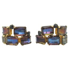 Pair Signed Schreiner Bi-Color Blue Purple Faceted Glass Brooches
