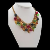 Early Miriam Haskell Blown Glass and Leaf Bookchain Necklace
