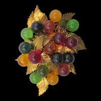 Early Miriam Haskell Blown Glass and Leaf Bookchain Brooch