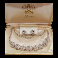 Pennino Crystal Rhinestone Necklace and Earring Set in Original Box