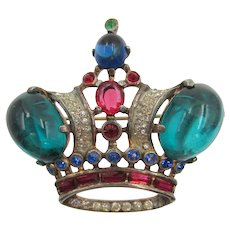 Trifari Alfred Philippe Sterling Royal Crown Green Cabochon Brooch