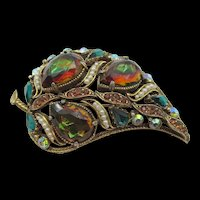 Florenza Bi-color Rhinestone Faux Pearl Paisley Brooch