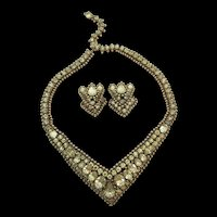 Exquisite Kramer of New York Yellow Rhinestone necklace and Earring Set