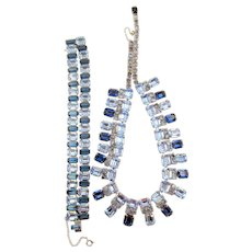 Gorgeous Weiss Sapphire and Light Blue Baguette Necklace and Bracelet Set