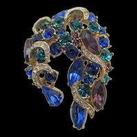 British SPHINX Purple, Emerald and Sapphire Rhinestone Brooch