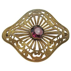 Victorian Gilt Amethyst Glass Filigree Sash Pin