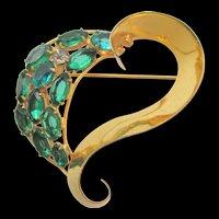 Vintage Sterling Vogue Jewelry Blue Green Rhinestone Stylized Heart Brooch