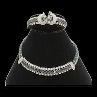 Gorgeous Vintage Sapphire Blue and Crystal Rhinestone Necklace and Bracelet Set