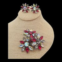 Signed Vogue Red Black Diamond and Aurora Borealis Rhinestone Floral Brooch and Clip Earring Set
