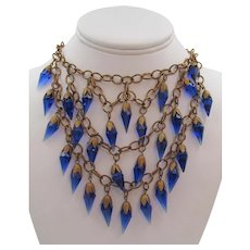 Gorgeous 1930s Royal Blue Glass Icicle and Brass Necklace