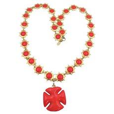 Vintage DeLillo Orange Maltese Cross Pendant Necklace