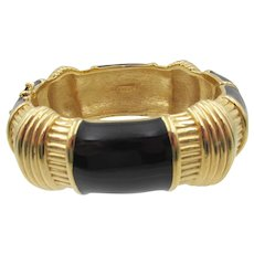 Ciner Gold Plated Black Enamel Hinged Clamper Bracelet