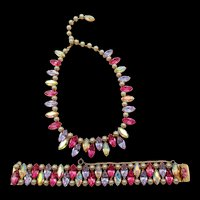 Gorgeous Kramer Alexandrite, Pink, AB Navette Rhinestone and Faux Pearl Necklace and Bracelet Set