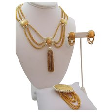 Kramer Gold Tone Faux Pearl Festoon Necklace, Brooch and Earring Parure Set
