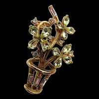 Crown Trifari Alfred Phillipe Jonquil Rhinestone Floral Brooch