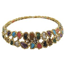 Incredible 14K Gold-Plated Semi-Precious Collar Necklace