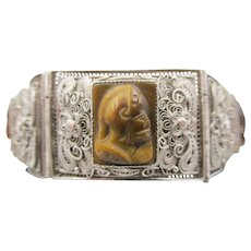 Chinese Export Silver Filigree and Carved Tigers Eye Panel Bracelet