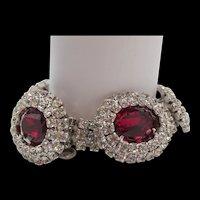 Kramer Of New York Ruby Red and Crystal Rhinestone Bracelet