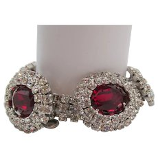 Kramer Of New York Ruby Red and Crystal Rhinestone Bracelet