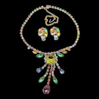 Beautiful Pastel Rhinestone Drop Necklace and Clip Earring Set